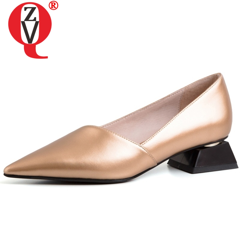 ZVQ women good quality pointed toe fashion heels shoes real leather inside low heel brand shoes