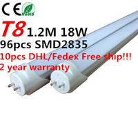 10pcs Lot 4ft T8 LED Fluorescent Tube Light 1200mm 18W 1650LM CE RoHs 2 Year Warranty