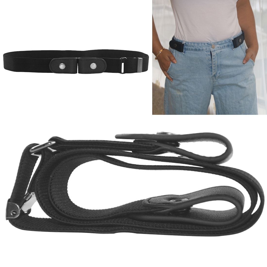 Buckle-Free Belt For Jean Pants Dresses No Buckle Stretch Elastic Waist Belt For Women And Men No Bulge No Hassle Waist Belt