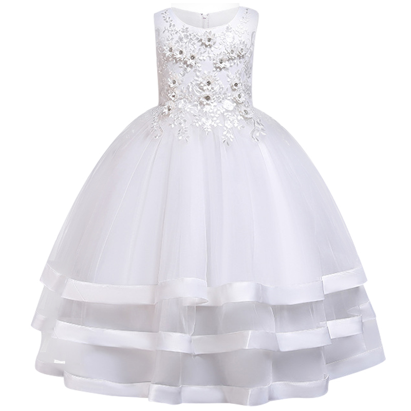 New Style Long Girl Wedding Bridesmaid Party Dress 2019 Girls Pageant First Communion Dresses Party Communion Dinner Dress