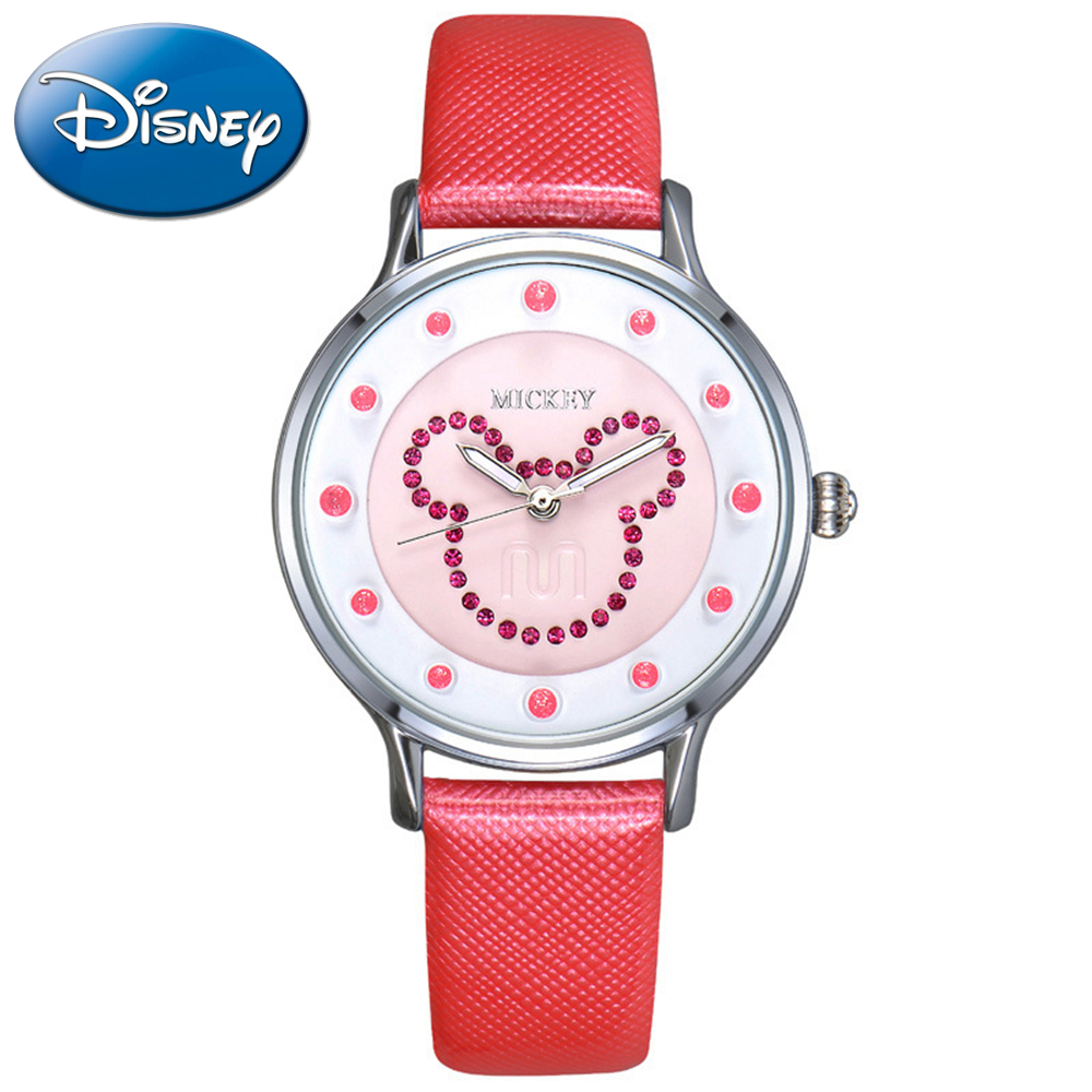Mickey Ladies Luxury Rhinestone Genuine Leather Round Watches Girls Lovely Colour Dress Fashion Casual Quartz Watch Disney 11025 original disney brands girl pretty mickey mouse cartoon lovely watch best fashion casual simple quartz round leather watches