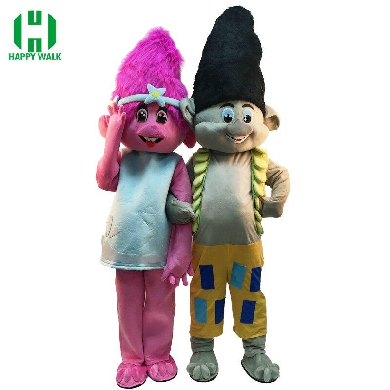 Nouveau Costume de mascotte Troll pour 1.6m à 1.85m Costume de mascotte Trolls personnage déguisement fête mascotte Costume anniversaires cadeau