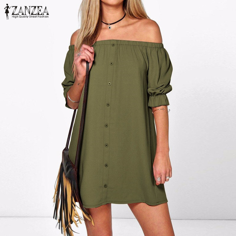 abcacc4e1b84 ZANZEA Women Vestidos 2018 Sexy Off Shoulder Mini Party Dress Casual Loose  Half Sleeve Strapless Dresses Long Tops Plus Size -in Dresses from Women s  ...