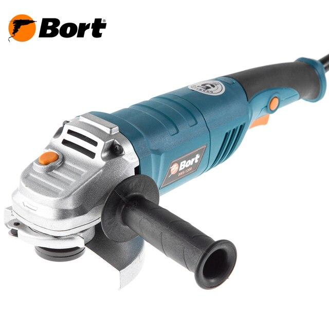 Машина шлифовальная угловая (болгарка) Bort BWS-1200 (блокировка шпинделя, регулировка кожуха без ключа, эргономичная рукоятка)