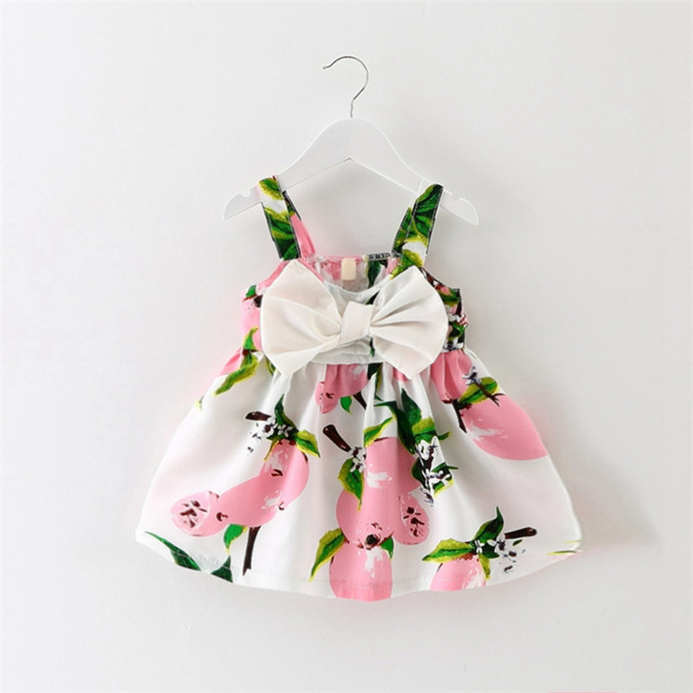 6M-3T Baby Girls Dress with big bow floral Printed Kids Clothes for summer Tank dress Bebe Clothing Infant Dress 9 12 18 24
