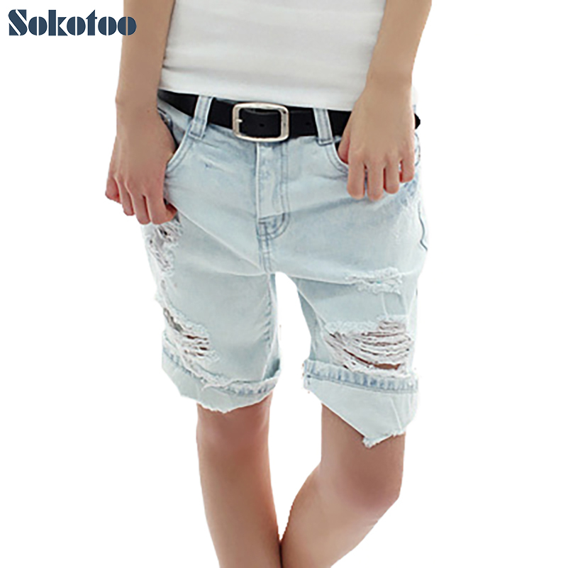 Sokotoo Women's loose jeans holes dog pocket denim capris plus size roll up hem shorts new arrival Free shipping