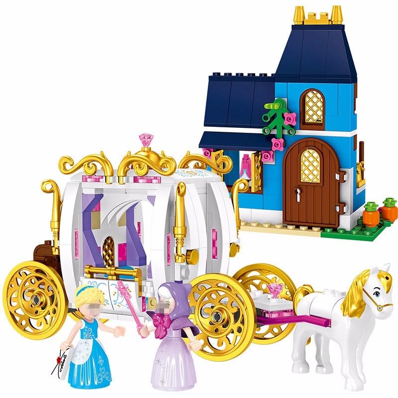 Amigos engraçados 25009 sermoido Duploe Princesa Cinderella Pumpkin Carriage Building Blocks Compatível 41146