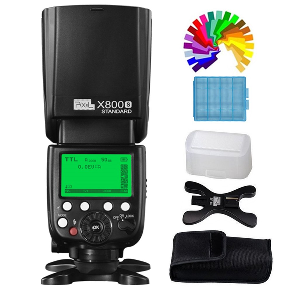 Pixel X800S Standard The Flash Speedlite HSS E-TTL High Speed Sync Flashgun for Sony Mirrorless DSLR Camera pixel x800s standard gn60 hss ttl flash speedlite 2pcs king pro 2 4g flash trigger transceivers for sony a7 a7s a7r a7rii