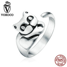 VOROCO New Authentic 100% 925 Sterling Silver Cute Cat Pussy Open Finger Cuff Rings for Women Fine Jewelry Gift