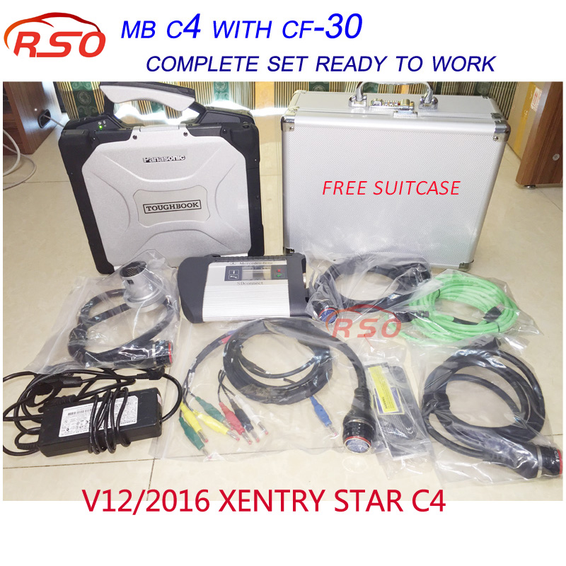MB Star SD Connect C4 Multi-languageS V03/2017 Software+Engineer Developer Vediamo for MB Star C4 CF-30 laptop with suitcase