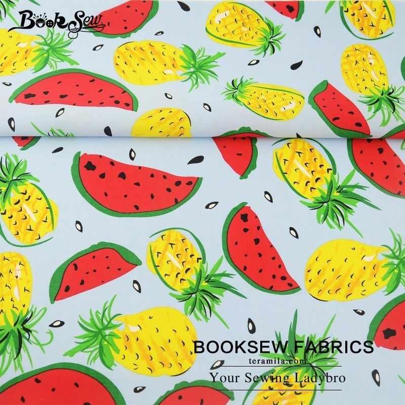 """Booksew, 100% хлопок, поплин, фабричная мягкая стеганая летняя одежда с фруктовым узором, домашний текстиль, текстильные ткани, Tecido для рубашки, одежда, аппликация """"Цветы"""" см"""