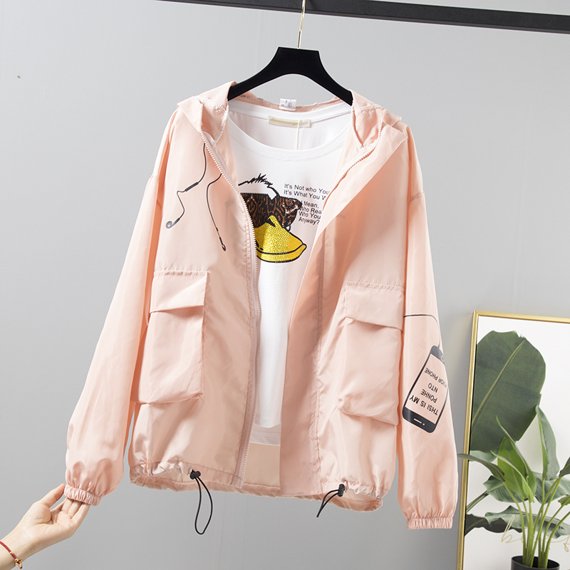 Women   Basic     Jackets   Zipper Pockets Casual Long Sleeves Coat Spring Summer New Hooded Female Windbreaker Thin Sunscreen Outerwear