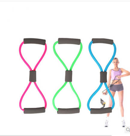 Resistance Training Bands Tube Workout Exercise For Yoga 8 Type Body Building Fitness Equipment Tool