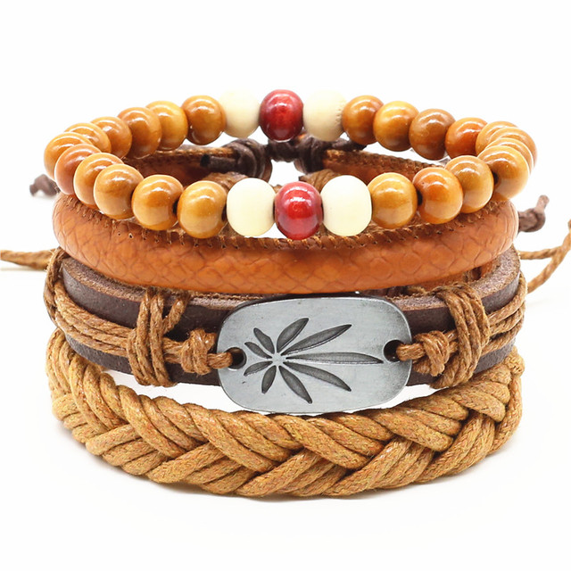 Four Layers Unisex Bracelet with Wood, Leather and Hemp Rope Combination