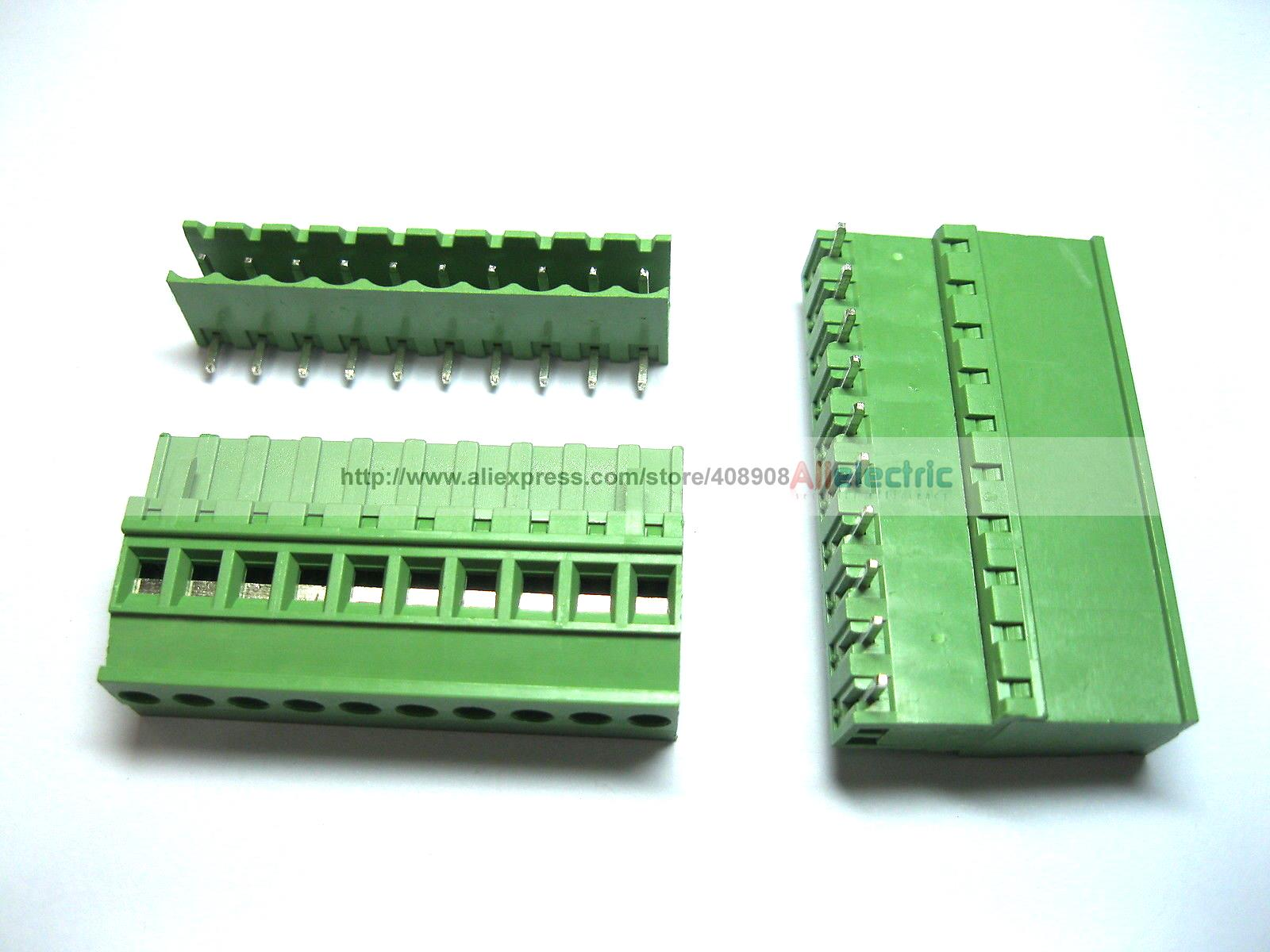 24 Pcs 5.08A 5.08mm Angle 10 Pin Screw Terminal Block Connector Pluggable Type 40 pcs 5 08mm angle 10 pin screw terminal block connector pluggable type green