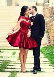 Elegant newest tulle cocktail dresses dark red appliques long sleeve short prom formal dresses zy1001.jpg 250x250