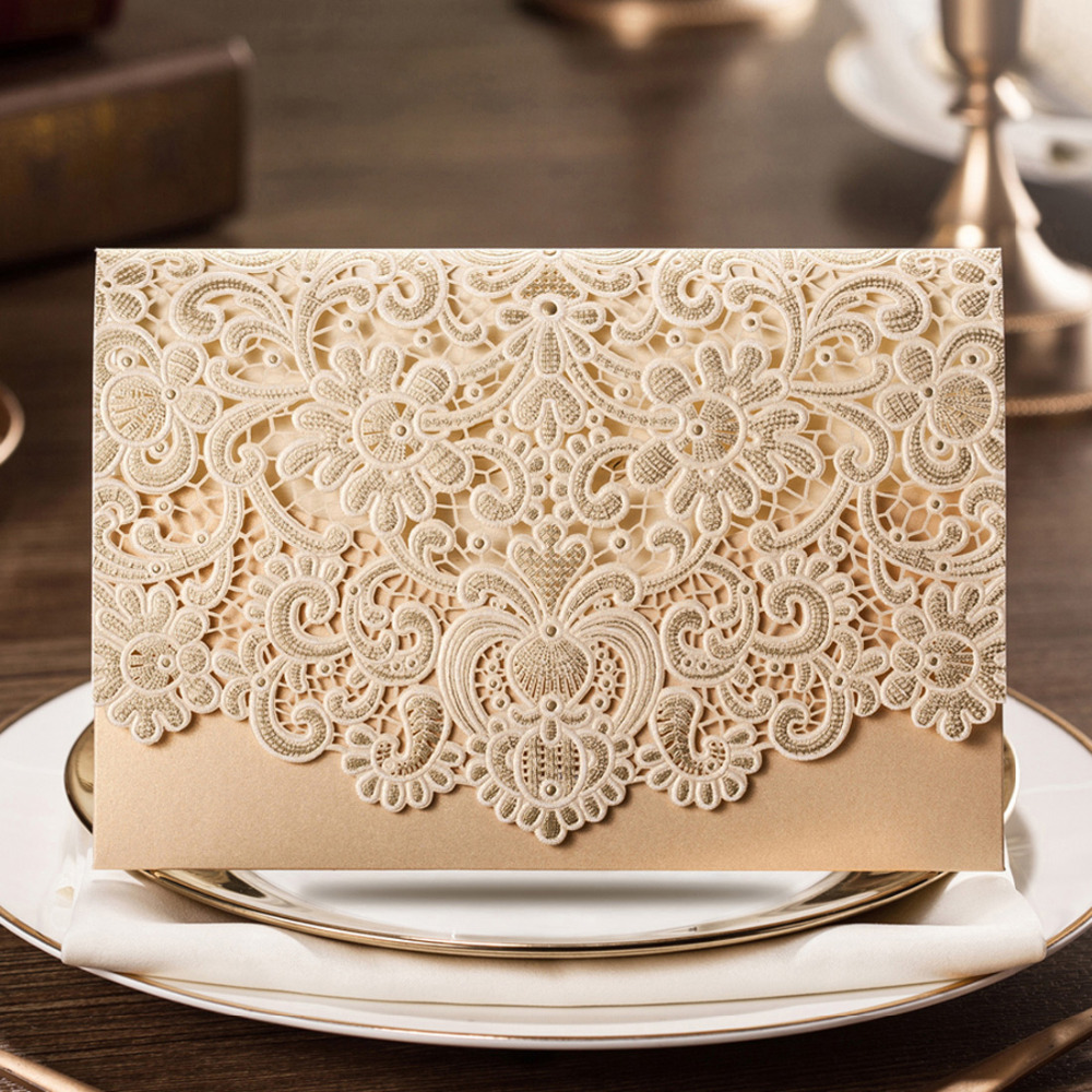 WISHMADE Gold Horizontal Laser Cut Wedding Invitations Cards with Embossed Flower Design for Marriage Bride Shower