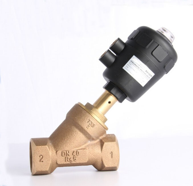 1 1/2 inch 2/2 Way single acting Gunmetal body pneumatic angle seat valve normally closed 63mm actuator itlna722 2