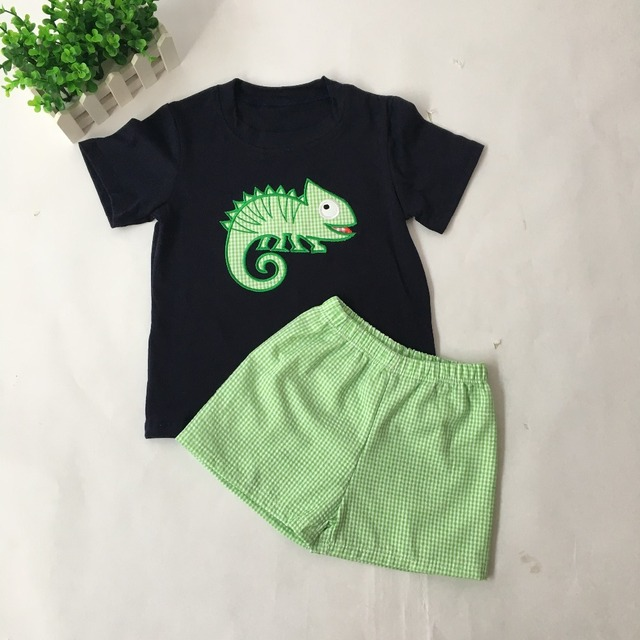 a3791bd276a6 Puresun Super Cute Baby Boy Summer Clothes Cartoon Applique Naby Blue  T-shirt With Green Gingham Shorts Baby Summer Boutique
