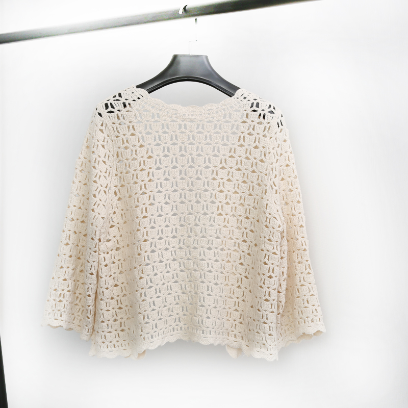 Crochet White Lace Hollow Out Knitted Cardigan Blouse 4