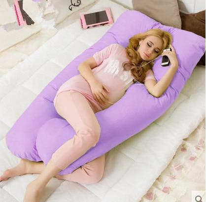 Grand oreiller de literie en coton pour femmes enceintes oreiller de grossesse taille en U soutien du ventre protégeant pour le sommeil et l'allaitement