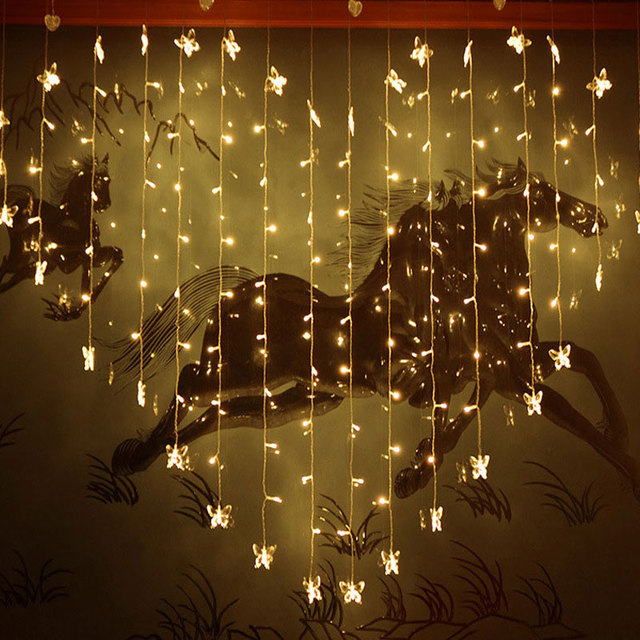 2x1.5m Christmas Curtain Lights 128 SMD 34 Butterfly LED String ...