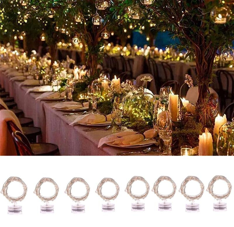 8pcs 20 LED Waterproof Fairy String Light 2M Submersible Tea Light Candle Copper Wire Light