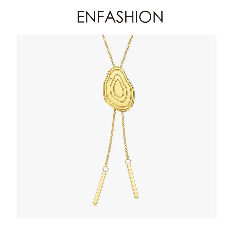Enfashion Years Choker Necklace For Women Gold Color Stainless Steel Long Chain Adjustable Necklaces Pendants Jewelry PD183015