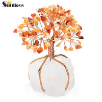 Sunligoo Chakra Healing Red Agate Crystals Copper Tree of Life Wrapped Natural Clear Quartz Crystal Base Feng Shui Luck Figurine