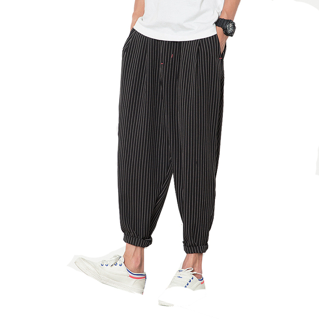 2017 Spring Summer Male Classic Stripe Harem Pants Men Casual Loose Ankle Length Men Pants Pantalon Homme (Asian Size)