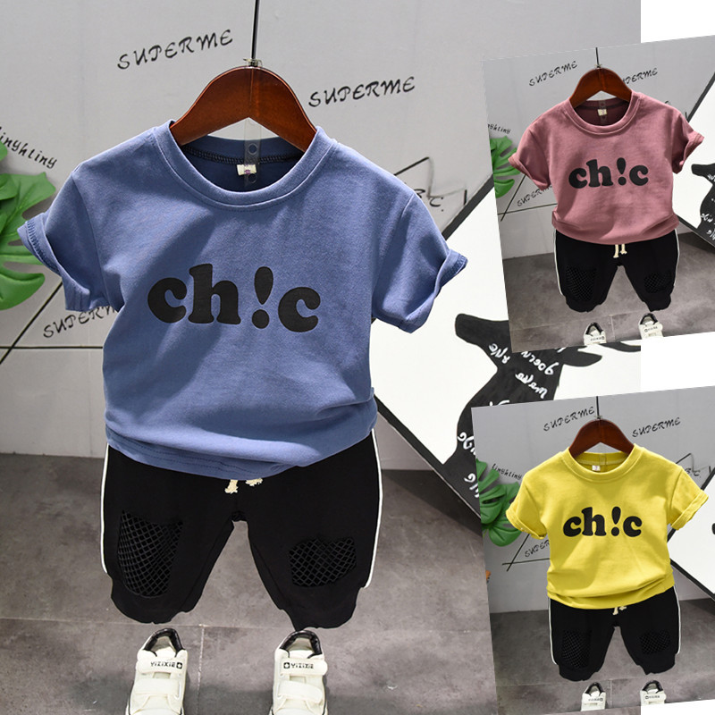 2019 Summer Kid Little Boys Clothes 2pcs Set Letter T Shirt + Shorts Outfits Casual Baby Girls Tops Pants Sport Wear 2 3 4 5 6 7