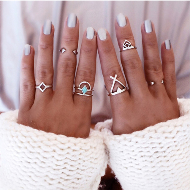FAMSHIN Bohemian 6pcs/Pck Vintage Anti Silver Blue gem Rings Lucky Stackable Midi Rings Set of Rings for Women Party