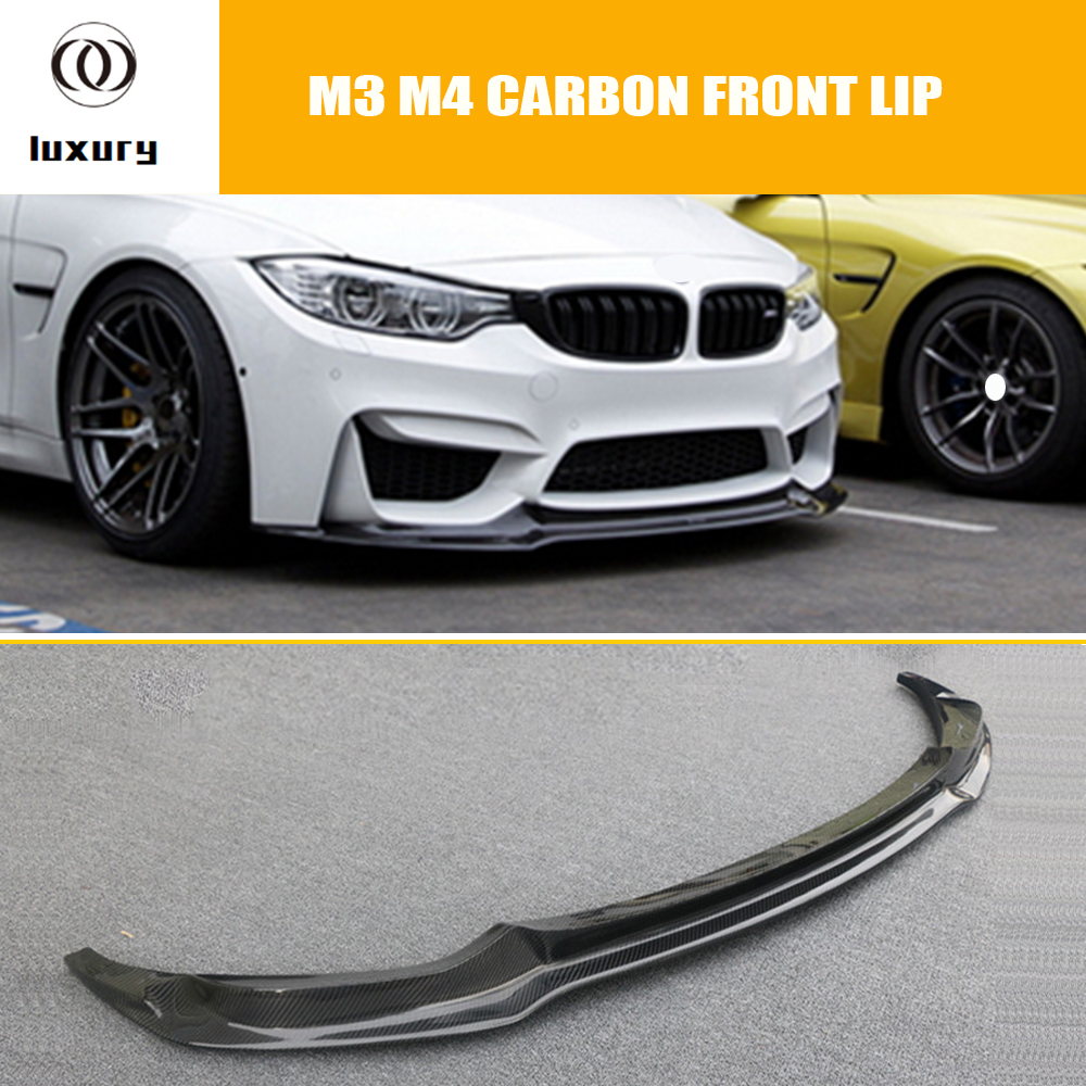 M3 M4 Carbon Fiber V Style Front Bumper Lip Chin Spoiler for BMW F80 M3 F82 M4 Coupe F83 M4 Convertible 2012 - 2017