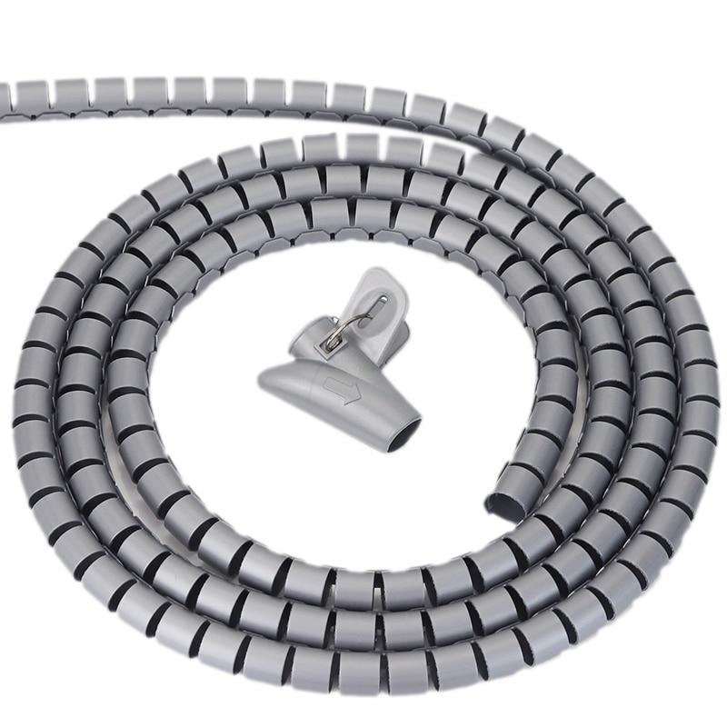 5 M fil Tube de stockage Clips câble manchon organisateur tuyau Wrap cordon protecteur Flexible spirale dispositif de gestion