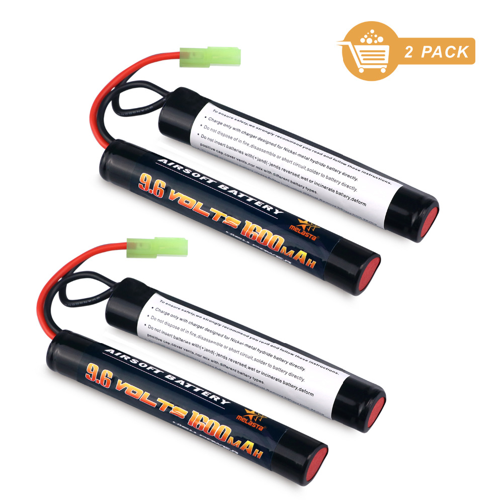все цены на Melasta 2Pack 2/3A 9.6v 1600mAh Butterfly NunChuck NIMH Battery Pack with Mini Tamiya Connector for Airsoft Guns