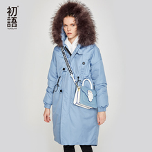 Toyouth Womens Down Jacket Winter Female Jacket Thicking Fur Hooded Oversize Parka Coat Long 90% Outwear White Duck Down Jacket