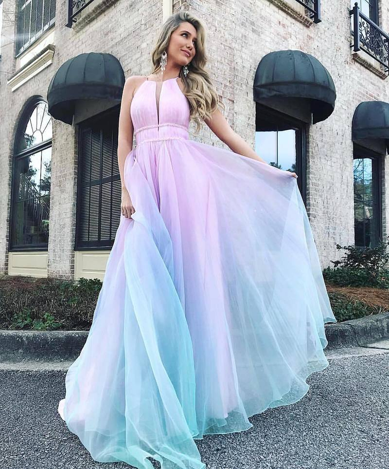 WEPBEL Women's Gradient Color Elegant Neckhangging Formal Dress Elegant Sleeveless Evening Party Dress Ball Robes