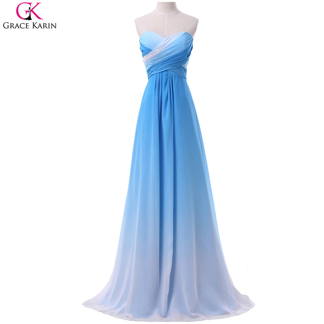 Ombre Prom Dresses Grace Karin Strapless Chiffon Blue Rainbow