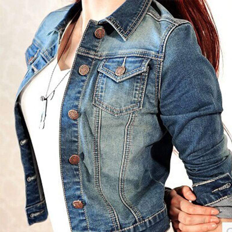 2019 Autumn Denim   Jacket   Coat Women Long Sleeve Single Breasted Jeans   Jacket   Female Short Tops Women   Basic   Brand Clothing z10