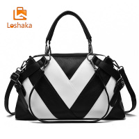 Loshaka Women Brand New Design Handbag Black And White Stripe Tote Bag Female Shoulder Bags High