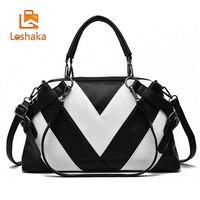 Loshaka Women Brand New Design Handbag Black And White Stripe Tote Bag Female Shoulder Bags High