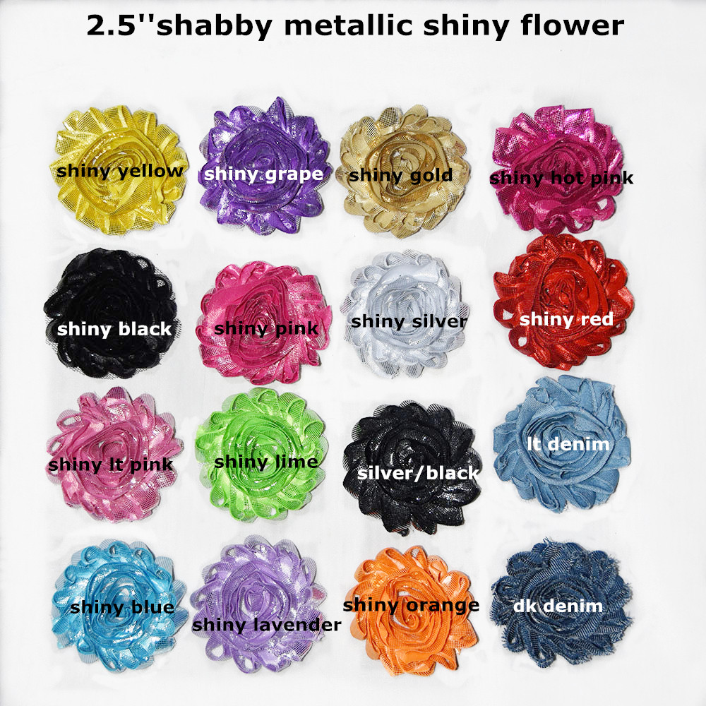 15 yards lots 2 5 shabby shiny rose flower metallic shiny rose flower for headband apparel