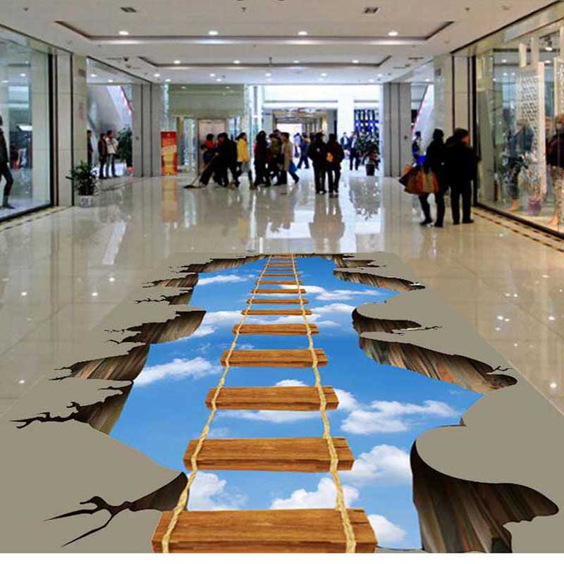 American pop dangling staircase floor wall painting pvc for Bathroom floor mural sky