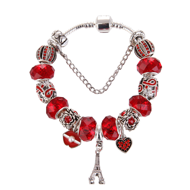 High Quality Red crystal Eiffel Tower Pendant Pretty Charm Bracelet Pandora Bracelet For Women/Gril gift jewelry Drop Shipping