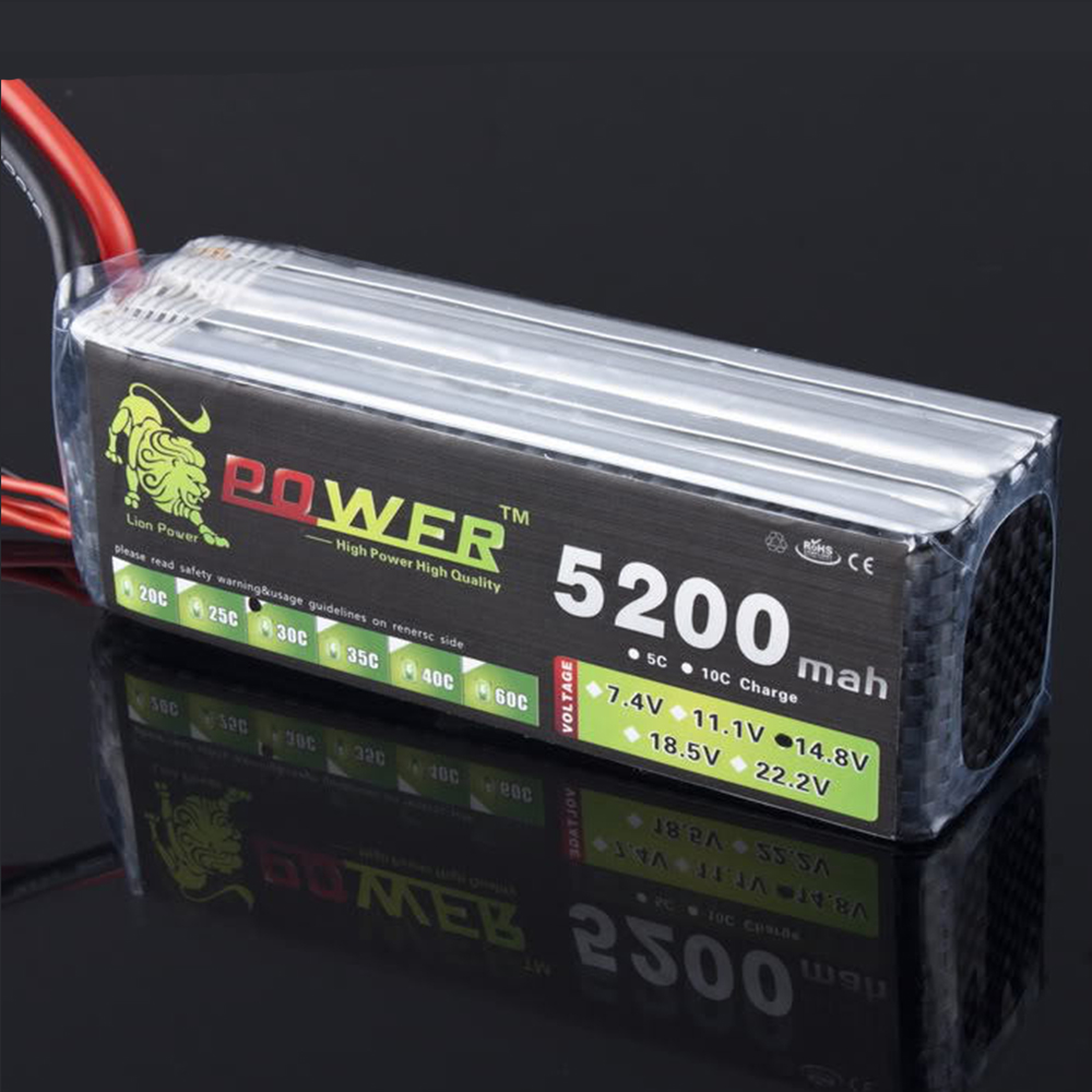 Ultra-high Capacity Lion Power <font><b>4S</b></font> 14.8V <font><b>5200mAh</b></font> <font><b>Lipo</b></font> Battery 30c to 35c T/XT60 Plug For RC Boat Car Quodcopter Battery Parts image