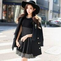 Оригинальный бренд 2018 Осень Женская одежда Мода Большие размеры короткие черные с принтом теплый вязаный платье на бретелях женская обувь