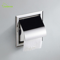 Brass Bathroom Tissue Box Wall Mounted Square Embedded Chrome Finish Toilet Paper Holder Bathroom Accessories