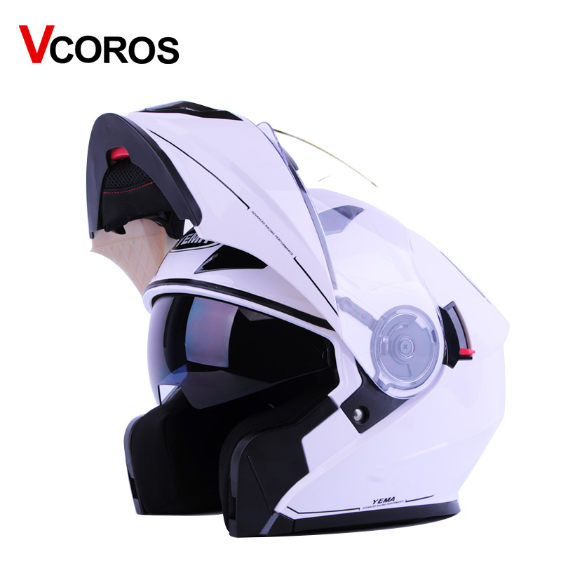 YEMA 927 full face motorcycle helmet flip up double lens with inner sun visor size L XL man women modular moto helmets цена 2017