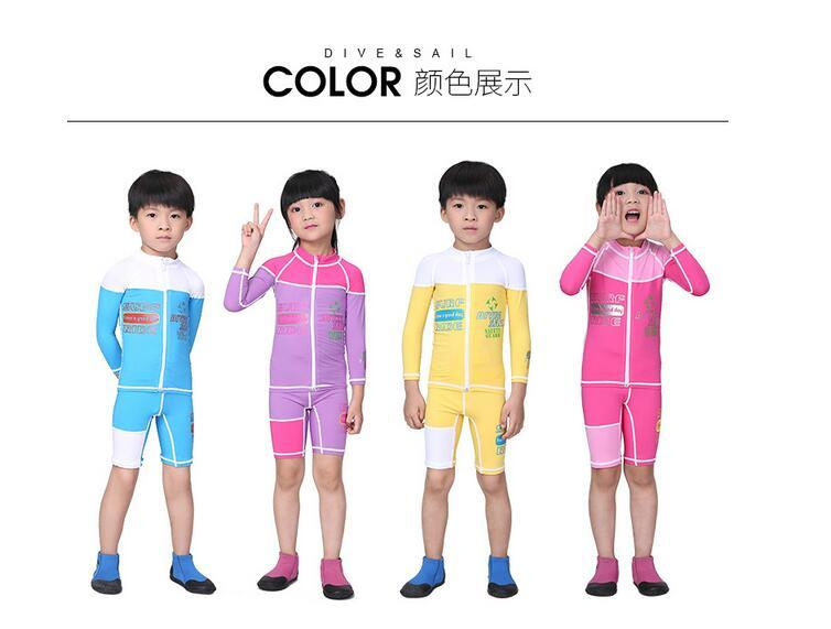Zipper Long Sleeves Kids Boys Girls Diving Suits Sets Wetsuits Surfing Rash Guards Children Bathing Swimwears Shirts and Shorts