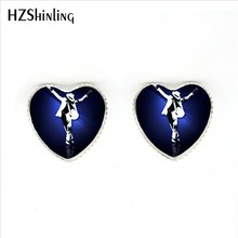 HER-0023 New Michael Jackson Heart Earrings Classic Michael Jackson Silver Stud Earrings Handmade Glass Dome Jewelry(China)